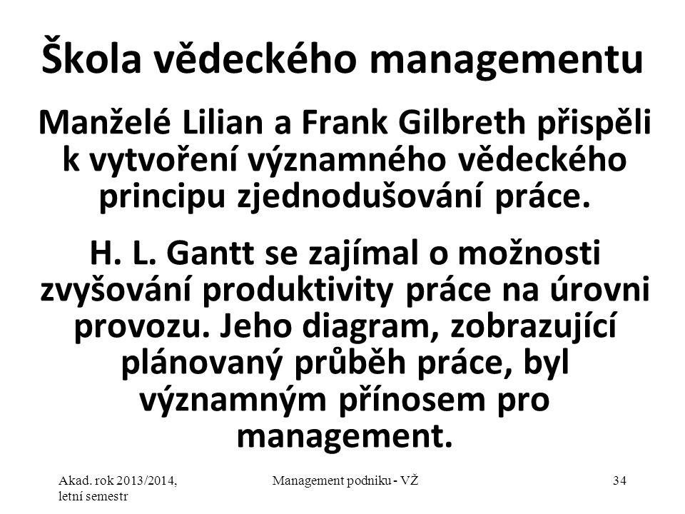 Akad. rok 2013/2014, letní semestr Management podniku - VŽ34 Škola vědeckého managementu Manželé Lilian a Frank Gilbreth přispěli k vytvoření významné