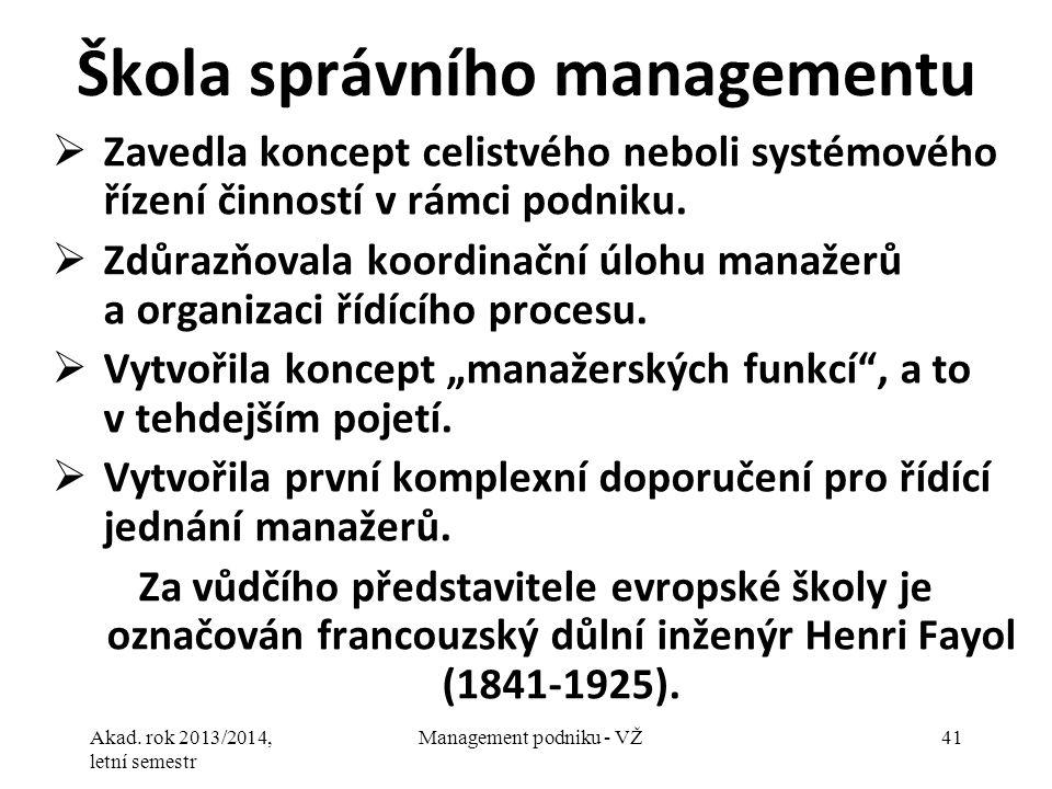 Akad. rok 2013/2014, letní semestr Management podniku - VŽ41 Škola správního managementu  Zavedla koncept celistvého neboli systémového řízení činnos