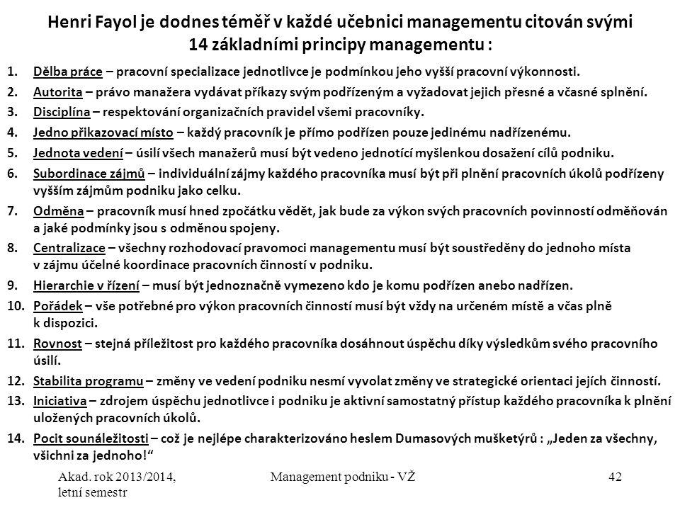 Akad. rok 2013/2014, letní semestr Management podniku - VŽ42 Henri Fayol je dodnes téměř v každé učebnici managementu citován svými 14 základními prin