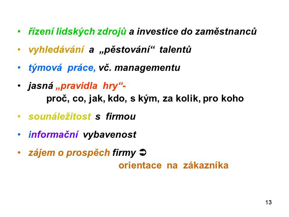 """13 řízení lidských zdrojů a investice do zaměstnanců vyhledávání a """"pěstování talentů týmová práce, vč."""