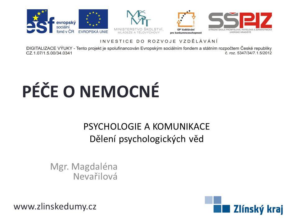 PSYCHOLOGIE A KOMUNIKACE Dělení psychologických věd Mgr. Magdaléna Nevařilová PÉČE O NEMOCNÉ www.zlinskedumy.cz