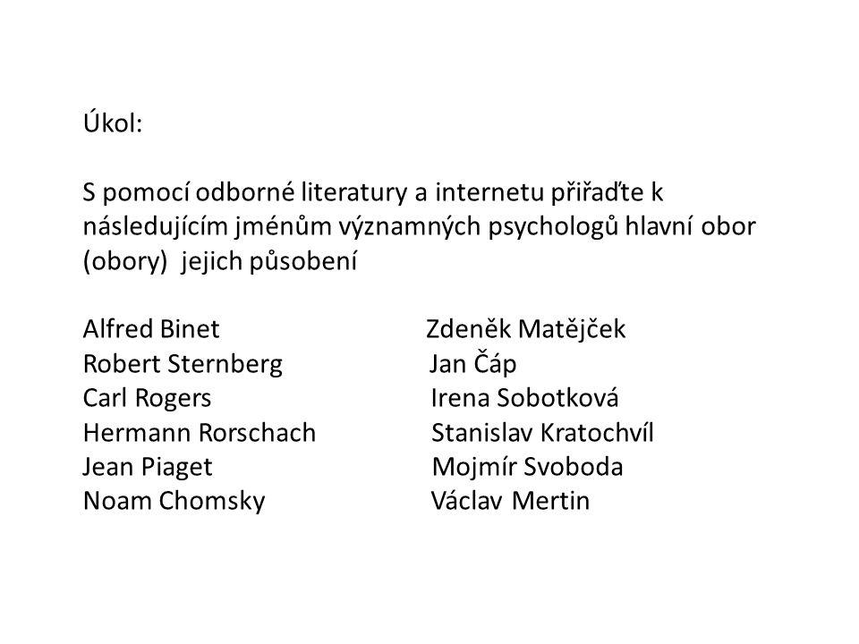 Úkol: S pomocí odborné literatury a internetu přiřaďte k následujícím jménům významných psychologů hlavní obor (obory) jejich působení Alfred Binet Zd