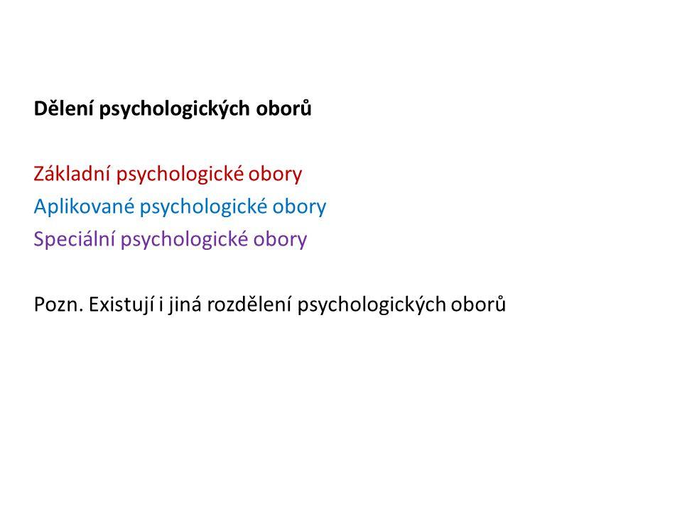 Dělení psychologických oborů Základní psychologické obory Aplikované psychologické obory Speciální psychologické obory Pozn. Existují i jiná rozdělení