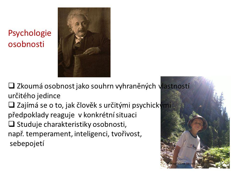 Psychologie osobnosti  Zkoumá osobnost jako souhrn vyhraněných vlastností určitého jedince  Zajímá se o to, jak člověk s určitými psychickými předpo