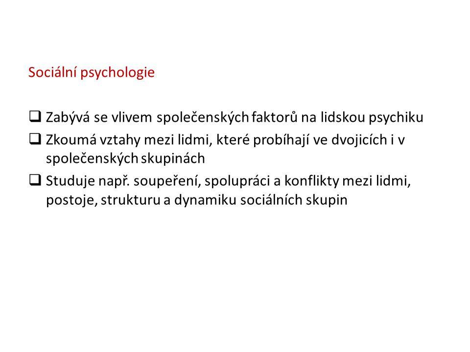 Sociální psychologie  Zabývá se vlivem společenských faktorů na lidskou psychiku  Zkoumá vztahy mezi lidmi, které probíhají ve dvojicích i v společe