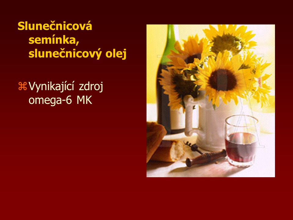 Olivy zbohaté na Na, K, Ca zesenciální omega-6, mononenas. MK zvit. E zol. olej je nevhodný na smažení - snadno oxiduje v zaž. traktu mají účinky: zan