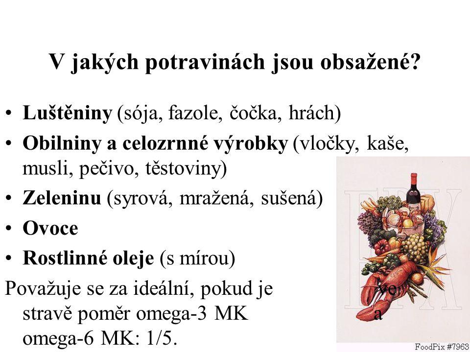 Luštěniny (sója, fazole, čočka, hrách) Obilniny a celozrnné výrobky (vločky, kaše, musli, pečivo, těstoviny) Zeleninu (syrová, mražená, sušená) Ovoce