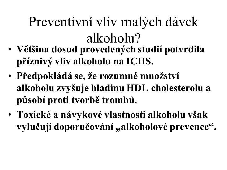 Preventivní vliv malých dávek alkoholu? Většina dosud provedených studií potvrdila příznivý vliv alkoholu na ICHS. Předpokládá se, že rozumné množství