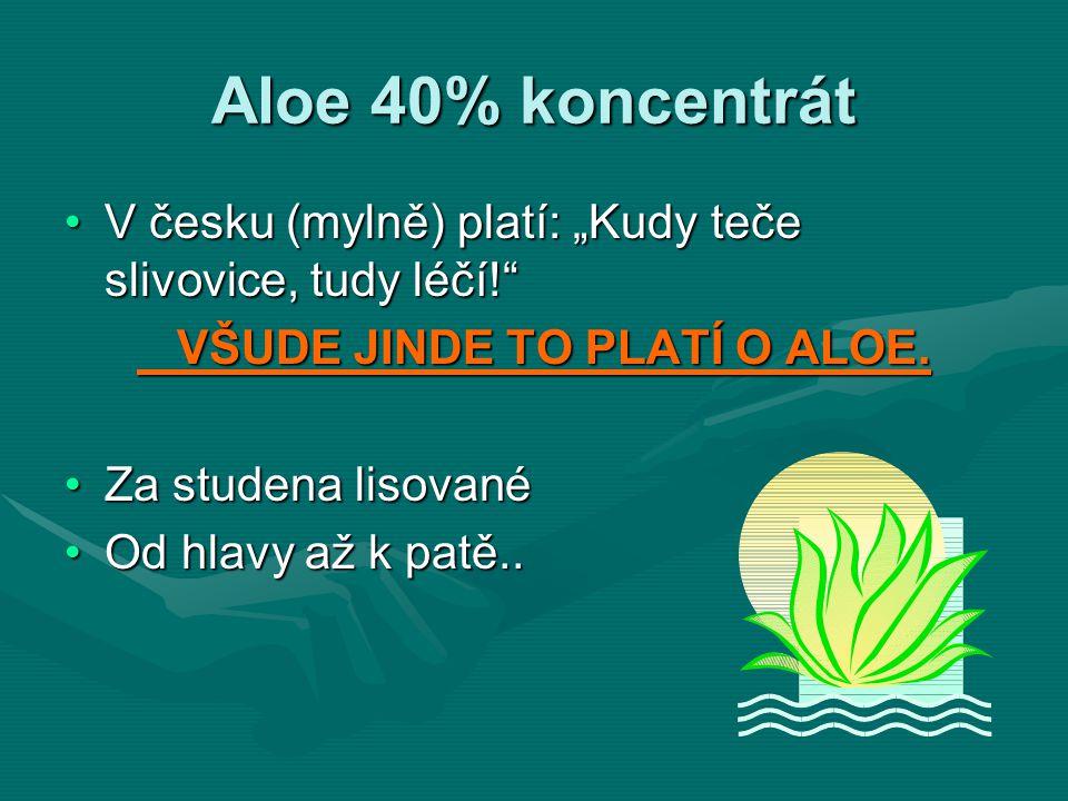"""Aloe 40% koncentrát V česku (mylně) platí: """"Kudy teče slivovice, tudy léčí!""""V česku (mylně) platí: """"Kudy teče slivovice, tudy léčí!"""" VŠUDE JINDE TO PL"""