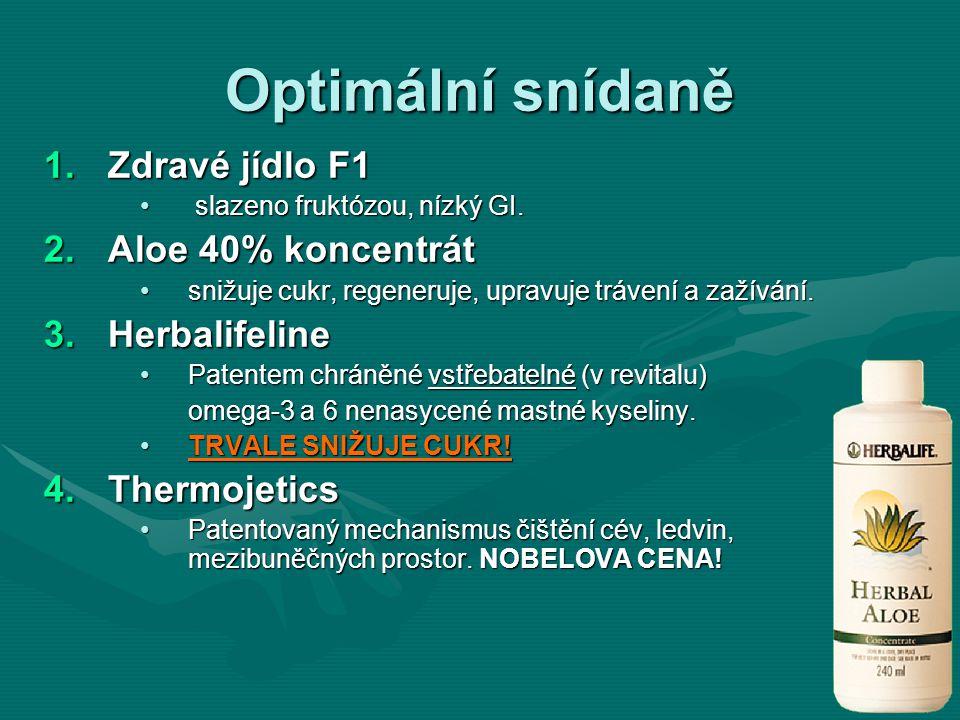Optimální snídaně 1.Zdravé jídlo F1 slazeno fruktózou, nízký GI. slazeno fruktózou, nízký GI. 2.Aloe 40% koncentrát snižuje cukr, regeneruje, upravuje