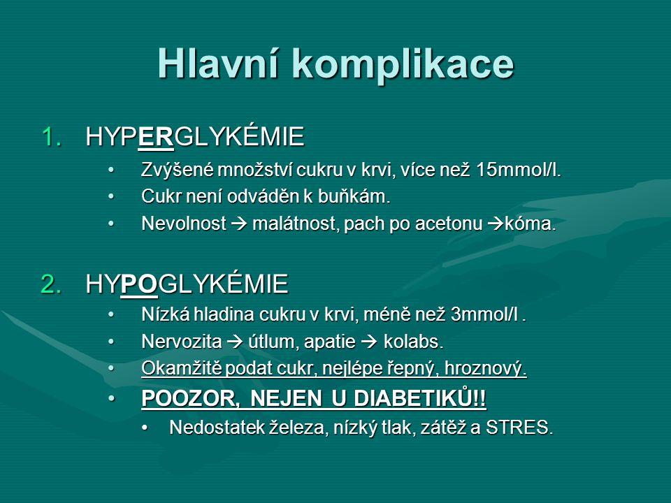 Hlavní komplikace 1.HYPERGLYKÉMIE Zvýšené množství cukru v krvi, více než 15mmol/l.Zvýšené množství cukru v krvi, více než 15mmol/l. Cukr není odváděn