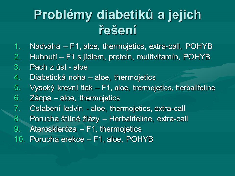 Problémy diabetiků a jejich řešení 1.Nadváha – F1, aloe, thermojetics, extra-call, POHYB 2.Hubnutí – F1 s jídlem, protein, multivitamín, POHYB 3.Pach