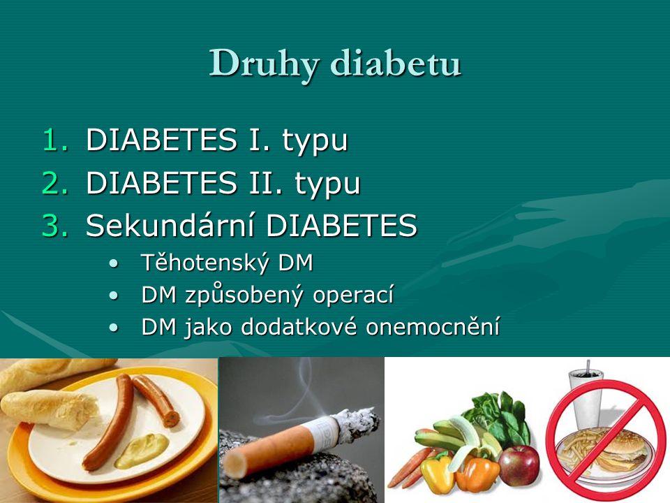 Druhy diabetu 1.DIABETES I. typu 2.DIABETES II. typu 3.Sekundární DIABETES Těhotenský DMTěhotenský DM DM způsobený operacíDM způsobený operací DM jako