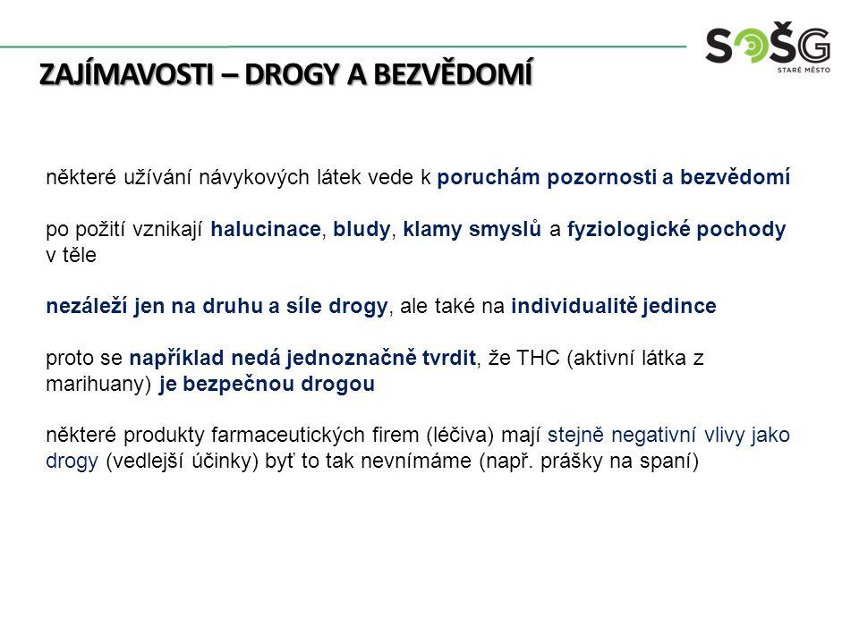 ZAJÍMAVOSTI – DROGY A BEZVĚDOMÍ některé užívání návykových látek vede k poruchám pozornosti a bezvědomí po požití vznikají halucinace, bludy, klamy smyslů a fyziologické pochody v těle nezáleží jen na druhu a síle drogy, ale také na individualitě jedince proto se například nedá jednoznačně tvrdit, že THC (aktivní látka z marihuany) je bezpečnou drogou některé produkty farmaceutických firem (léčiva) mají stejně negativní vlivy jako drogy (vedlejší účinky) byť to tak nevnímáme (např.