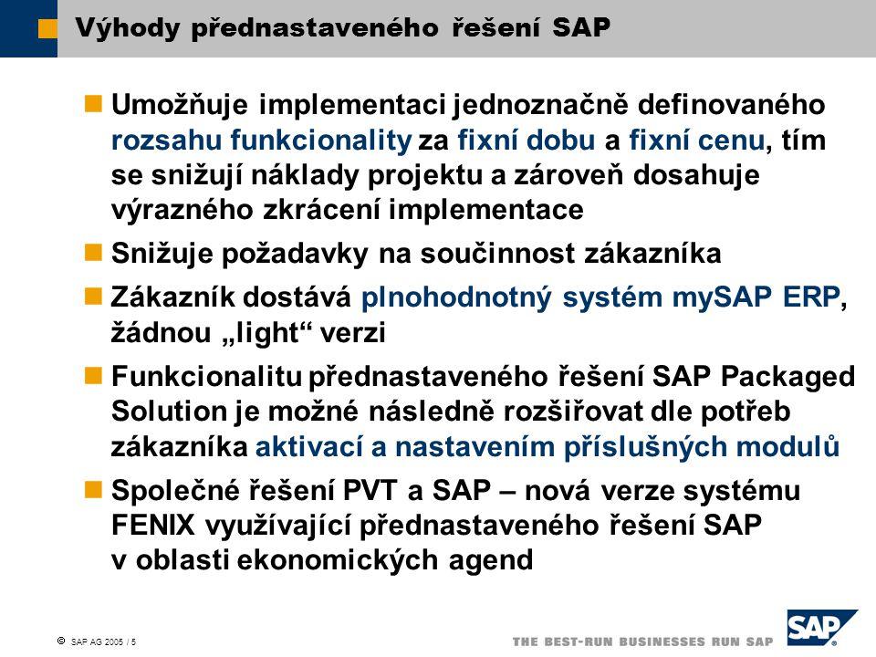 """ SAP AG 2005 / 5 Umožňuje implementaci jednoznačně definovaného rozsahu funkcionality za fixní dobu a fixní cenu, tím se snižují náklady projektu a zároveň dosahuje výrazného zkrácení implementace Snižuje požadavky na součinnost zákazníka Zákazník dostává plnohodnotný systém mySAP ERP, žádnou """"light verzi Funkcionalitu přednastaveného řešení SAP Packaged Solution je možné následně rozšiřovat dle potřeb zákazníka aktivací a nastavením příslušných modulů Společné řešení PVT a SAP – nová verze systému FENIX využívající přednastaveného řešení SAP v oblasti ekonomických agend Výhody přednastaveného řešení SAP"""