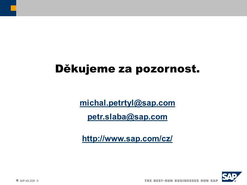  SAP AG 2005 / 9 Děkujeme za pozornost.