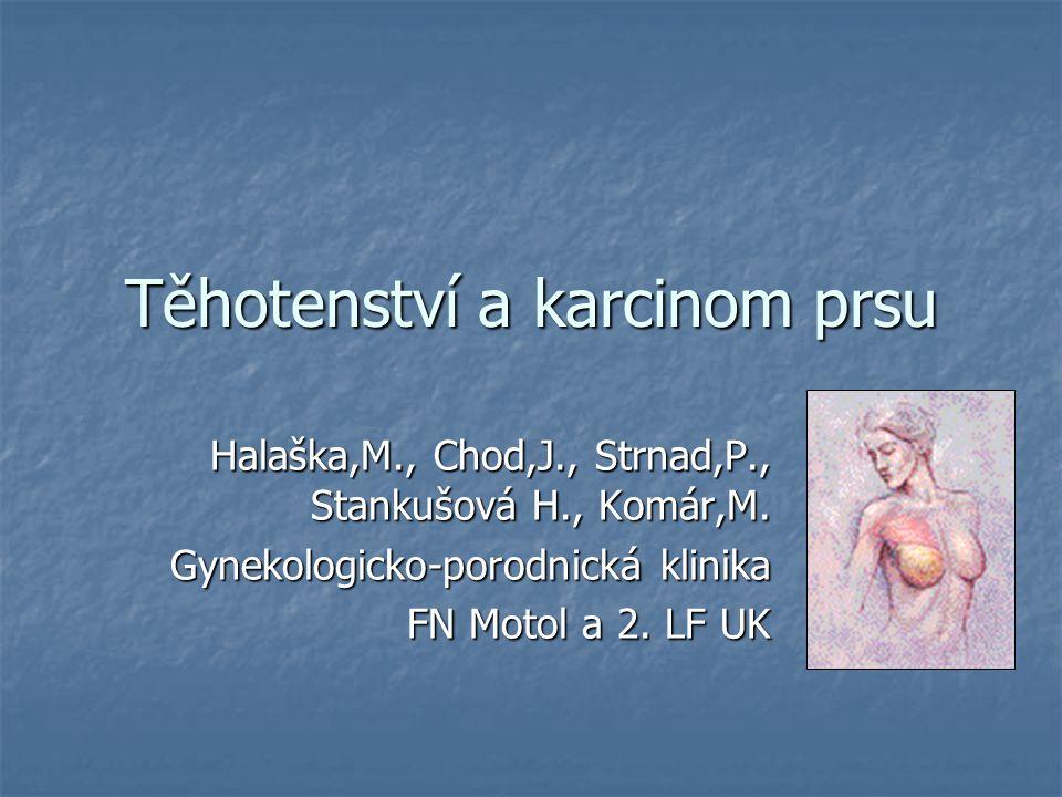 Těhotenství a karcinom prsu Halaška,M., Chod,J., Strnad,P., Stankušová H., Komár,M. Gynekologicko-porodnická klinika FN Motol a 2. LF UK