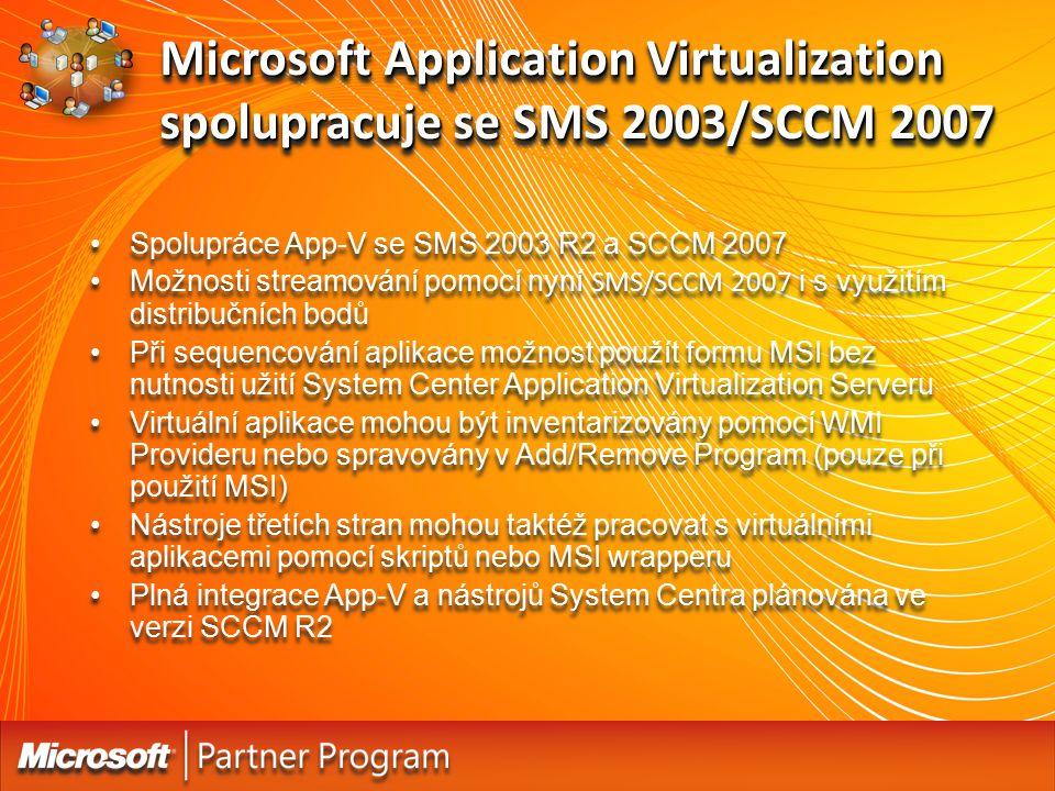 Microsoft Application Virtualization spolupracuje se SMS 2003/SCCM 2007 Spolupráce App-V se SMS 2003 R2 a SCCM 2007 Možnosti streamování pomocí nyní S