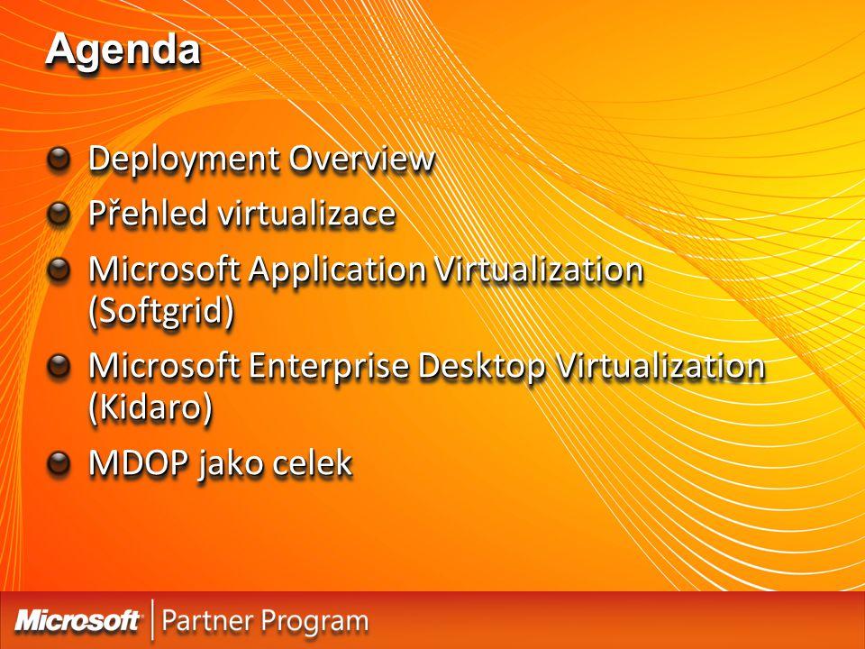 AgendaAgenda Deployment Overview Přehled virtualizace Microsoft Application Virtualization (Softgrid) Microsoft Enterprise Desktop Virtualization (Kid