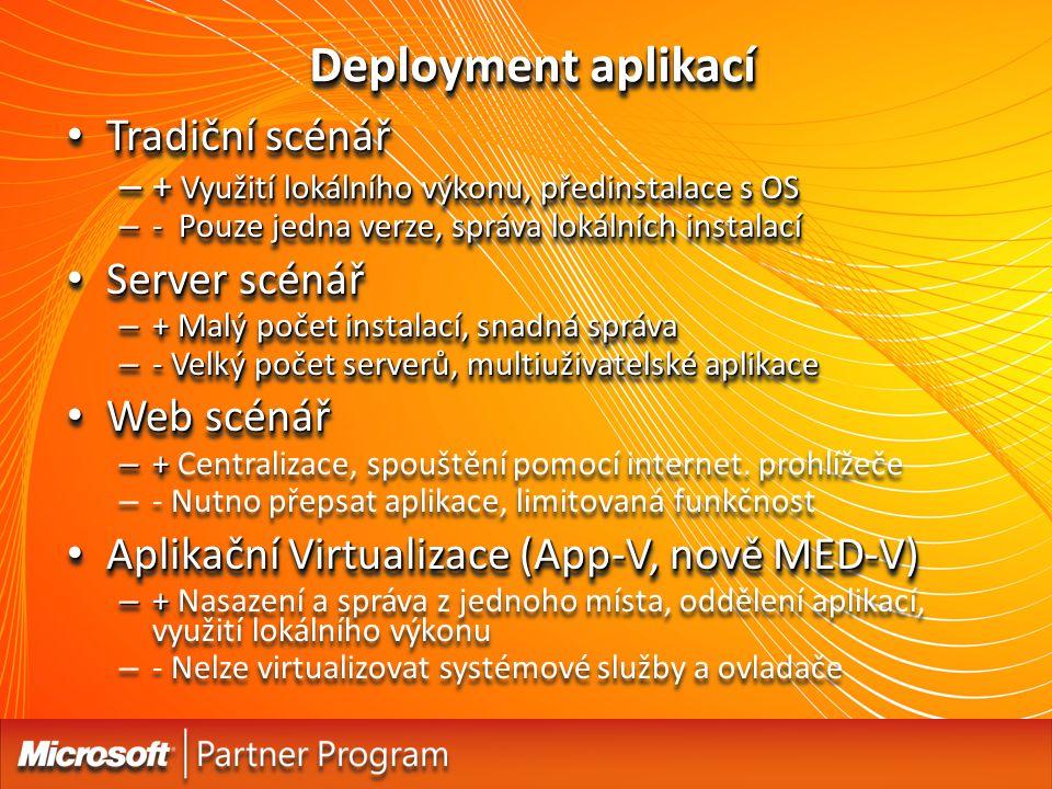 Deployment aplikací Tradiční scénář Tradiční scénář – + Využití lokálního výkonu, předinstalace s OS – - Pouze jedna verze, správa lokálních instalací