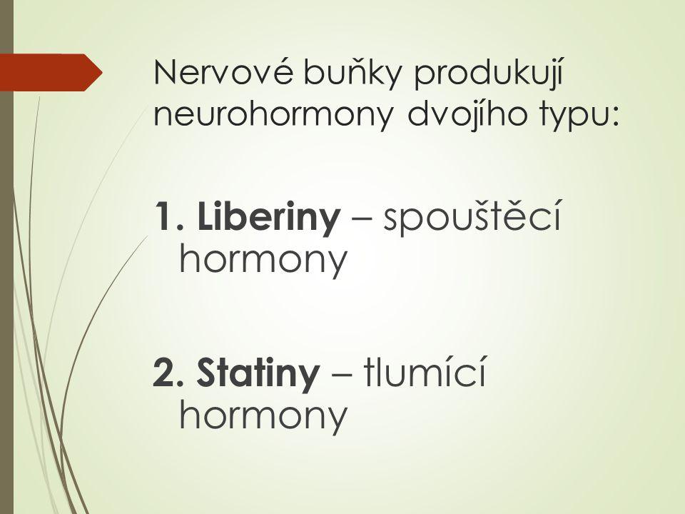 Nervové buňky produkují neurohormony dvojího typu: 1.