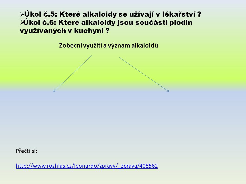 Přečti si: http://www.rozhlas.cz/leonardo/zpravy/_zprava/408562 Zobecni využití a význam alkaloidů  Úkol č.5: Které alkaloidy se užívají v lékařství