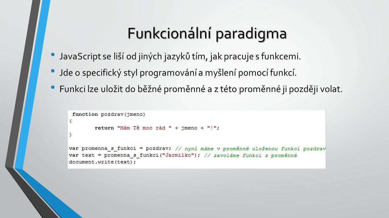 Funkcionální paradigma JavaScript se liší od jiných jazyků tím, jak pracuje s funkcemi. Jde o specifický styl programování a myšlení pomocí funkcí. Fu