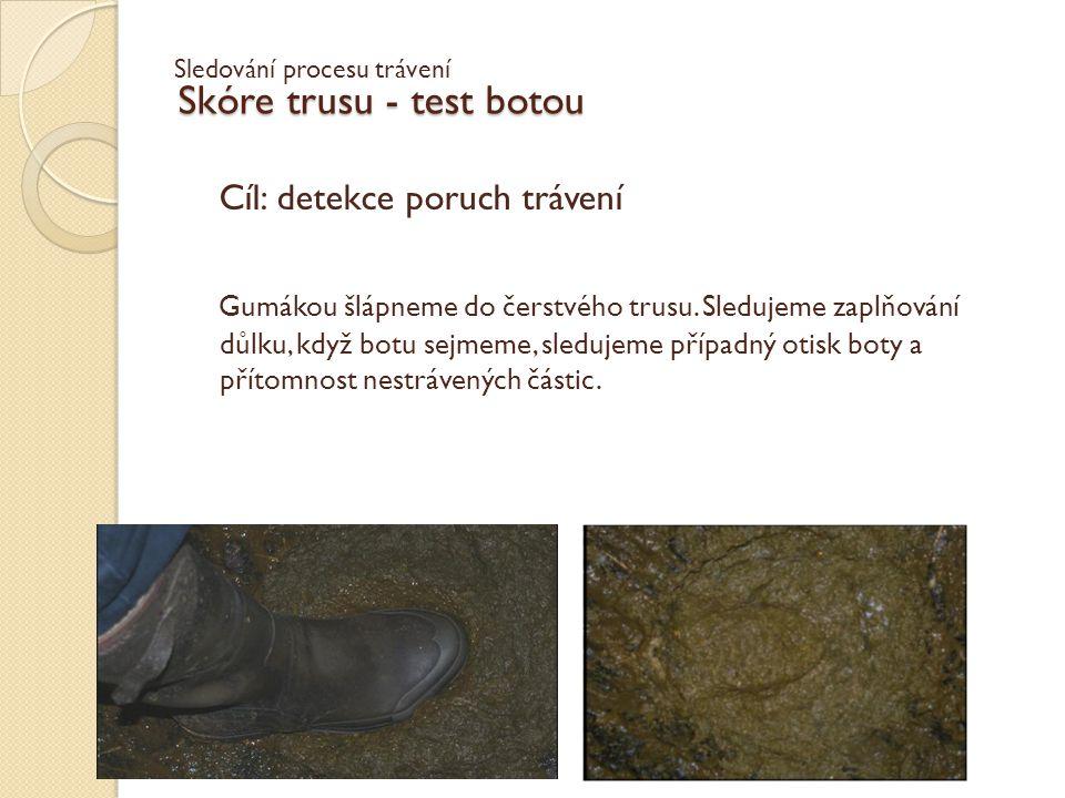 Skóre trusu - test botou Cíl: detekce poruch trávení Gumákou šlápneme do čerstvého trusu. Sledujeme zaplňování důlku, když botu sejmeme, sledujeme pří