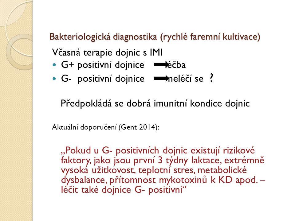 Bakteriologická diagnostika (rychlé faremní kultivace) Včasná terapie dojnic s IMI G+ positivní dojnice léčba G- positivní dojnice neléčí se ? Předpok