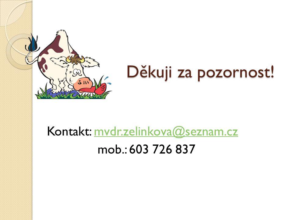 Děkuji za pozornost! Kontakt: mvdr.zelinkova@seznam.czmvdr.zelinkova@seznam.cz mob.: 603 726 837