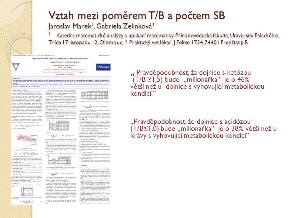 Vztah mezi poměrem T/B a počtem SB Jaroslav Marek 1, Gabriela Zelinková 2 1 Katedra matematické analýzy a aplikací matematiky, Přírodovědecká fakulta,