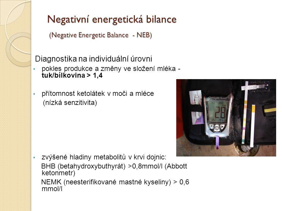 Negativní energetická bilance (Negative Energetic Balance - NEB) Diagnostika na individuální úrovni pokles produkce a změny ve složení mléka - tuk/bíl
