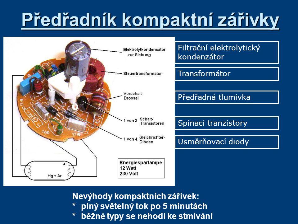 Předřadník kompaktní zářivky Filtrační elektrolytický kondenzátor Transformátor Předřadná tlumivka Spínací tranzistory Usměrňovací diody Nevýhody komp
