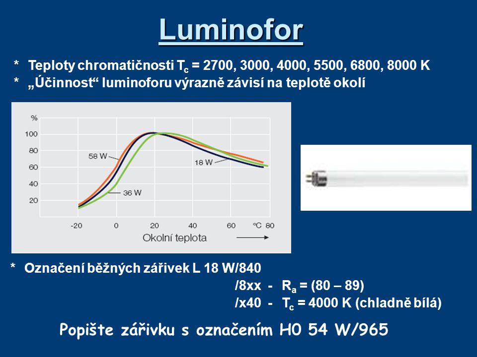 """*Teploty chromatičnosti T c = 2700, 3000, 4000, 5500, 6800, 8000 K *""""Účinnost"""" luminoforu výrazně závisí na teplotě okolí Luminofor *Označení běžných"""
