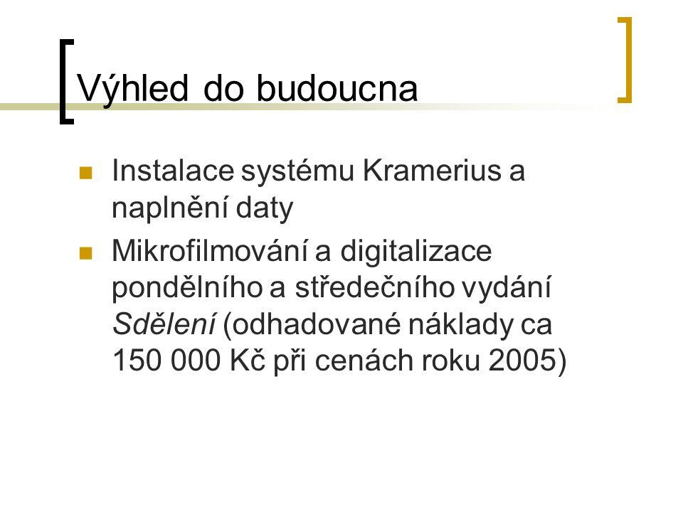 Výhled do budoucna Instalace systému Kramerius a naplnění daty Mikrofilmování a digitalizace pondělního a středečního vydání Sdělení (odhadované náklady ca 150 000 Kč při cenách roku 2005)