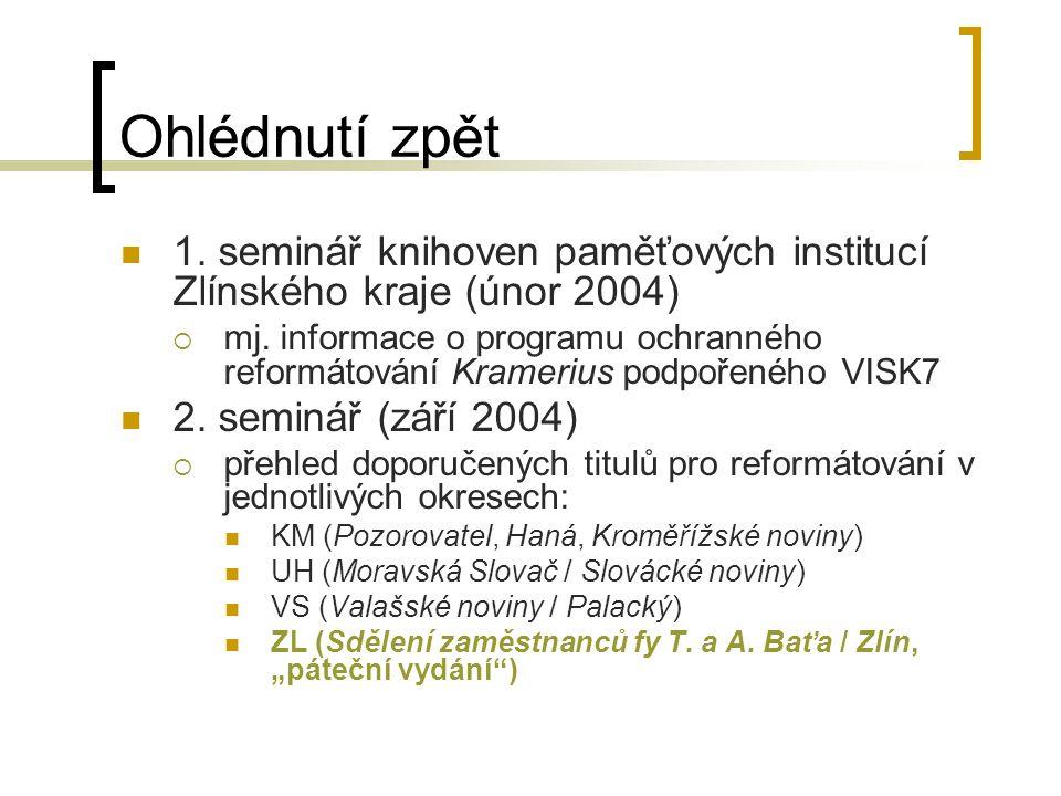 Ohlédnutí zpět 1. seminář knihoven paměťových institucí Zlínského kraje (únor 2004)  mj.