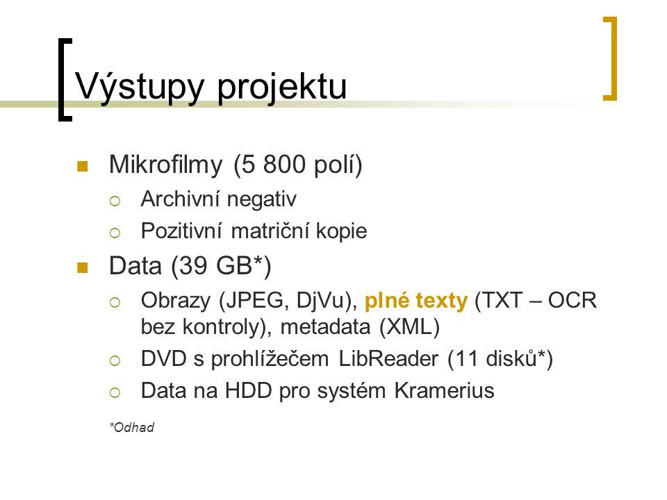 Výstupy projektu Mikrofilmy (5 800 polí)  Archivní negativ  Pozitivní matriční kopie Data (39 GB*)  Obrazy (JPEG, DjVu), plné texty (TXT – OCR bez kontroly), metadata (XML)  DVD s prohlížečem LibReader (11 disků*)  Data na HDD pro systém Kramerius *Odhad