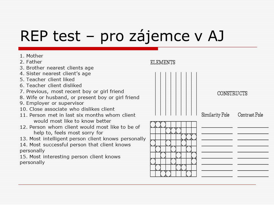 REP test – pro zájemce v AJ 1. Mother 2. Father 3. Brother nearest clients age 4. Sister nearest client's age 5. Teacher client liked 6. Teacher clien