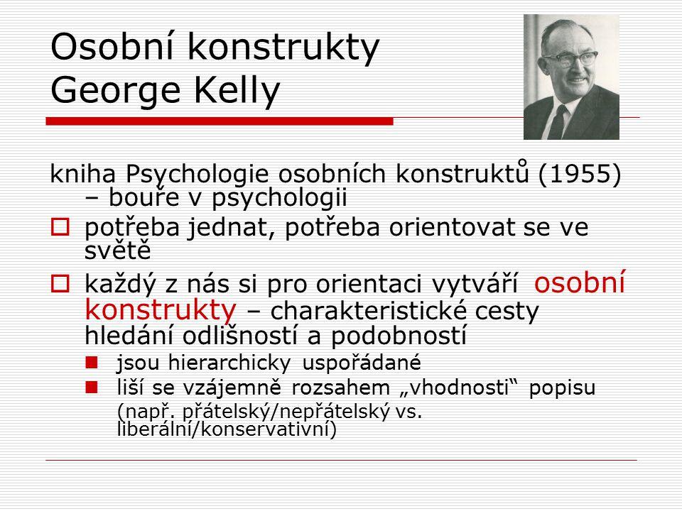 Osobní konstrukty George Kelly kniha Psychologie osobních konstruktů (1955) – bouře v psychologii  potřeba jednat, potřeba orientovat se ve světě  k