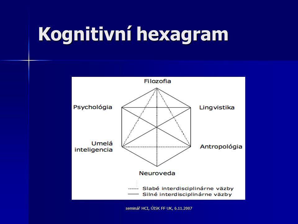 seminář HCI, ÚISK FF UK, 6.11.2007 Kognitivní hexagram