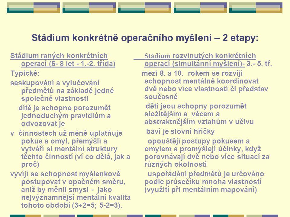 Stádium konkrétně operačního myšlení – 2 etapy: Stádium raných konkrétních operací (6- 8 let - 1.-2. třída) Typické: seskupování a vylučování předmětů
