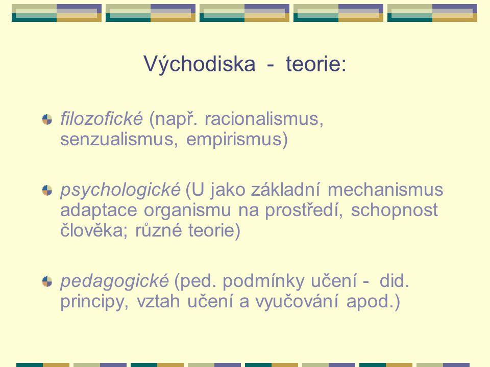 Východiska - teorie: filozofické (např. racionalismus, senzualismus, empirismus) psychologické (U jako základní mechanismus adaptace organismu na pros