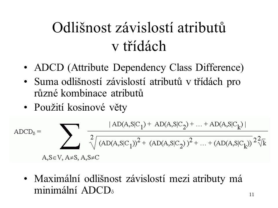 11 Odlišnost závislostí atributů v třídách ADCD (Attribute Dependency Class Difference) Suma odlišností závislostí atributů v třídách pro různé kombinace atributů Použití kosinové věty Maximální odlišnost závislostí mezi atributy má minimální ADCD 