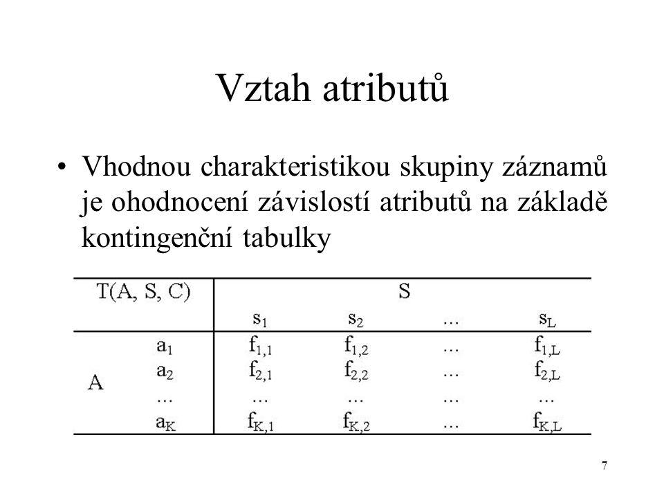 8 Třídící atribut V odlišných skupinách záznamů mohou (ale nemusí) být odlišné závislosti atributy Chceme najít způsob jak roztřídit záznamy tak, aby mezi třídami byly co nejodlišnější závislosti mezi atributy Pokusme se najít takový atribut jehož kategorie roztřídí záznamy do tříd s maximálně odlišnými závislostmi atributů.