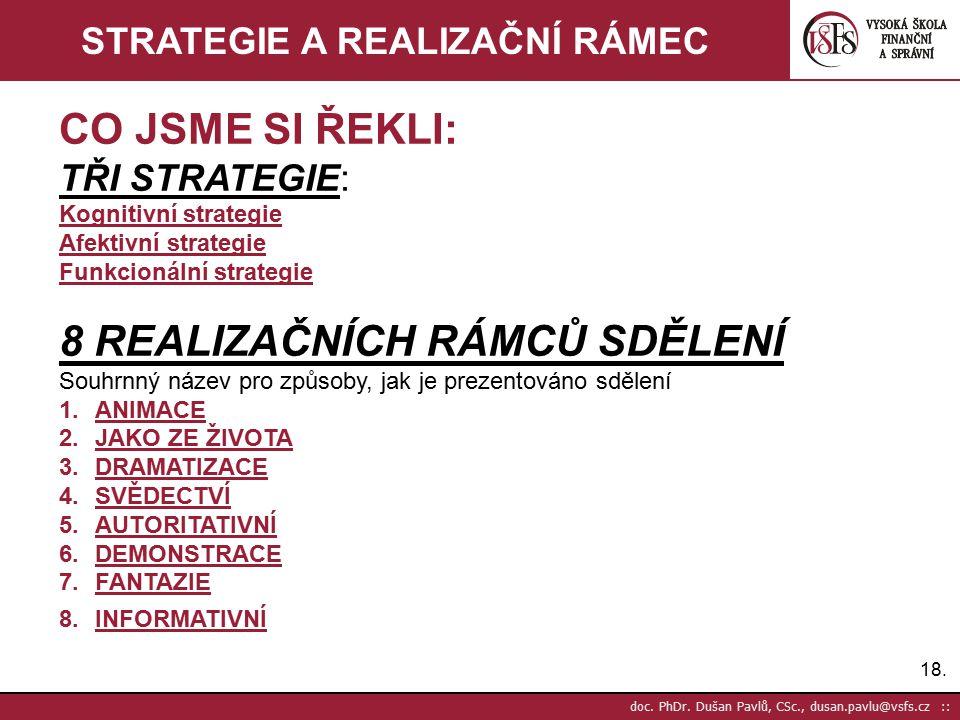 18. doc. PhDr. Dušan Pavlů, CSc., dusan.pavlu@vsfs.cz :: STRATEGIE A REALIZAČNÍ RÁMEC CO JSME SI ŘEKLI: TŘI STRATEGIE: Kognitivní strategie Afektivní
