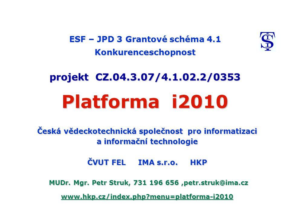 ESF – JPD 3 Grantové schéma 4.1 Konkurenceschopnost projekt CZ.04.3.07/4.1.02.2/0353 Platforma i2010 Česká vědeckotechnická společnost pro informatizaci a informační technologie ČVUT FEL IMA s.r.o.