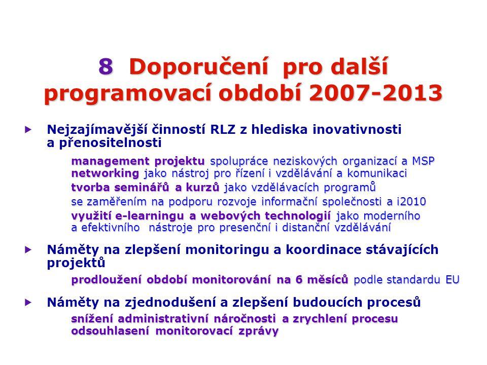 8Doporučení pro další programovací období 2007-2013 8 Doporučení pro další programovací období 2007-2013  Nejzajímavější činností RLZ z hlediska inovativnosti a přenositelnosti management projektu spolupráce neziskových organizací a MSP networking jako nástroj pro řízení i vzdělávání a komunikaci tvorba seminářů a kurzů jako vzdělávacích programů se zaměřením na podporu rozvoje informační společnosti a i2010 využití e-learningu a webových technologií jako moderního a efektivního nástroje pro presenční i distanční vzdělávání  Náměty na zlepšení monitoringu a koordinace stávajících projektů prodloužení období monitorování na 6 měsíců podle standardu EU  Náměty na zjednodušení a zlepšení budoucích procesů snížení administrativní náročnosti a zrychlení procesu odsouhlasení monitorovací zprávy