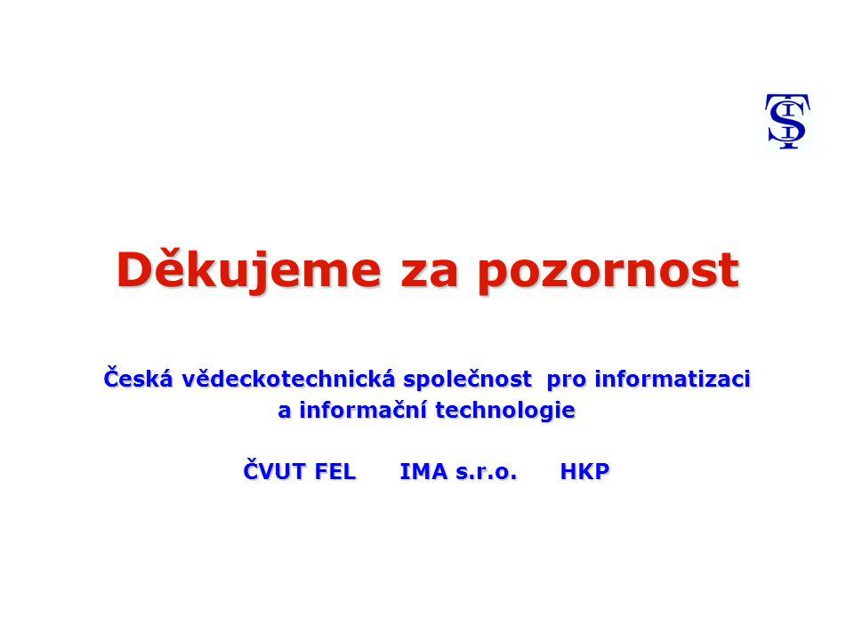 Děkujeme za pozornost Česká vědeckotechnická společnost pro informatizaci a informační technologie ČVUT FEL IMA s.r.o.