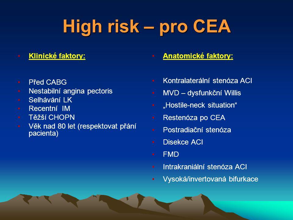 """High risk – pro CEA Klinické faktory: Před CABG Nestabilní angina pectoris Selhávání LK Recentní IM Těžší CHOPN Věk nad 80 let (respektovat přání pacienta) Anatomické faktory: Kontralaterální stenóza ACI MVD – dysfunkční Willis """"Hostile-neck situation Restenóza po CEA Postradiační stenóza Disekce ACI FMD Intrakraniální stenóza ACI Vysoká/invertovaná bifurkace"""