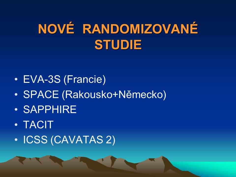 NOVÉ RANDOMIZOVANÉ STUDIE EVA-3S (Francie) SPACE (Rakousko+Německo) SAPPHIRE TACIT ICSS (CAVATAS 2)